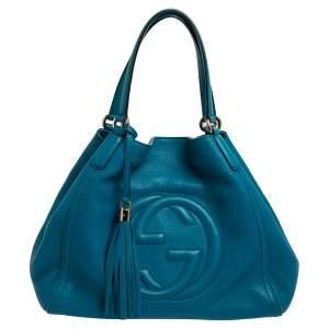 حقيبة يد سوهو غوتشي متوسطة جلد محبب أزرق