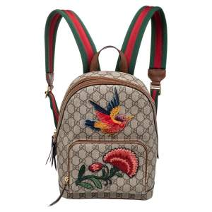 Gucci Beige GG Embroidery Canvas And Leather Web Backpack