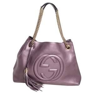 Gucci Metallic Purple Leather Medium Soho Chain Tote