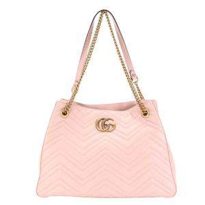 Gucci Pink Matelasse Leather GG Marmont Tote Bag