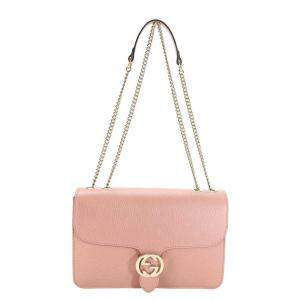 Gucci Soft Pink Dollar Calfskin Leather Interlocking G Shoulder Bag