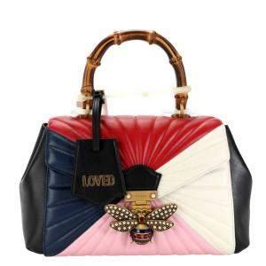 Gucci Multicolor Matelasse Leather Medium Queen Margaret Bamboo Top Handle Bag