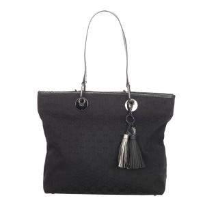 Gucci Black Fabric Canvas Leather Eclipse Tote Bag