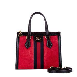 Gucci Red Leather Suede Small Ophidia Satchel