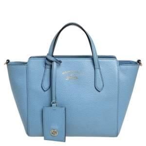 حقيبة يد توتس غوتشي سوينغ جلد أزرق سماوي ميني