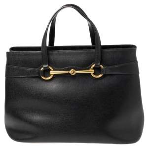 حقيبة يد توتس غوتشي برايت بيت متوسطة جلد أسود