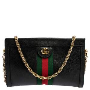 Gucci Black Leather Small Ophidia Shoulder Bag
