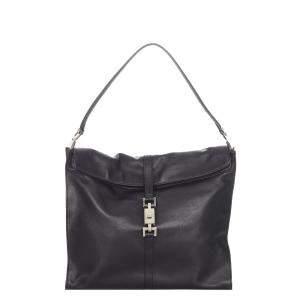 Gucci Black Leather Jackie Shoulder Bag