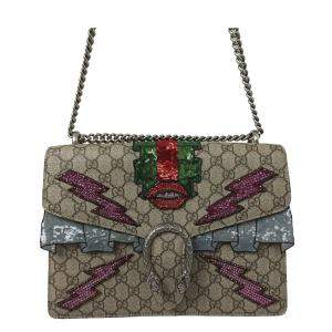 Gucci Brown/Beige Coated Canvas Fabric Dionysus Shoulder Bag