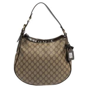 Gucci Brown/Beige GG Supreme Canvas and Leather Buckle Handle Hobo