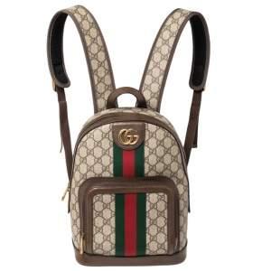حقيبة ظهر غوتشي أوفيديا كانفاس مقوى سوبريم GG وجلد بيج/ بني داكن صغيرة