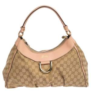 Gucci Pink/Beige GG Canvas and Leather D Ring Shoulder Bag