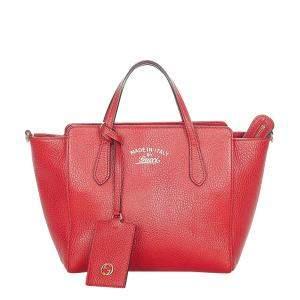 Gucci Red Leather Mini Swing Tote Bag