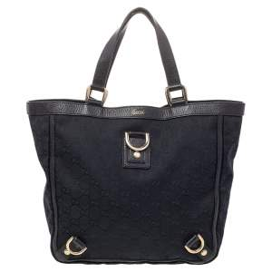 Gucci Black GG Canvas And Leather Small Abbey Tote