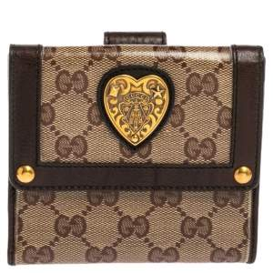 Gucci Brown/Beige GG Crystal Babouska Compact Wallet