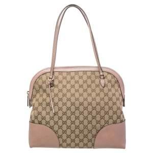 Gucci Beige/Old Rose GG Canvas and Leather Bree Shoulder Bag