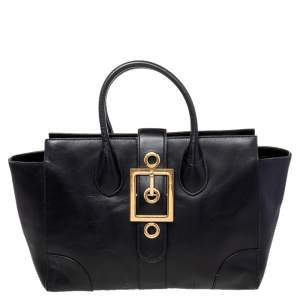 Gucci Black Leather Lady Buckle Tote