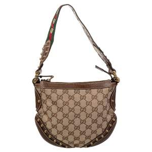 Gucci Beige/Brown GG Canvas and Leather Small Studded Pelham Hobo