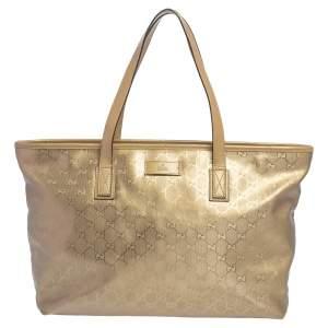 Gucci Gold GG Imprime Canvas and Leather Shopper Tote