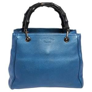 حقيبة يد توتس غوتشي شوبر بامبو جلد أزرق ميتاليك صغيرة