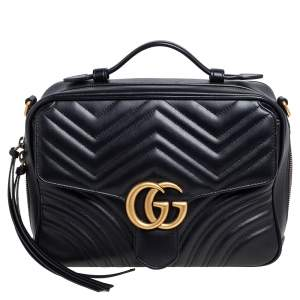 Gucci Black Matelasse Leather Small GG Marmont  Bag