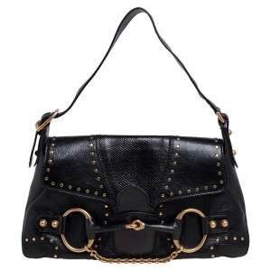 حقيبة كتف غوتشي هورسبيت جلد سحلية وجلد سوداء