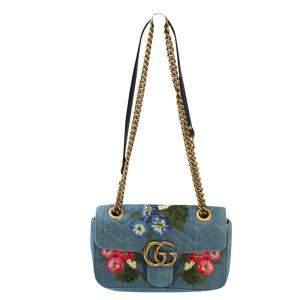 Gucci Blue Denim GG Marmont Floral Shoulder Bag
