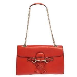 حقيبة كتف غوتشي ايميلي جلد برتقالي متوسطة بسلسلة