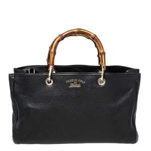 حقيبة يد توتس غوتشي بامبو جلد أسود متوسطة
