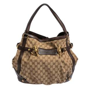 Gucci Beige/Brown Canvas And Leather Horsebit Jockey Tote