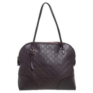 Gucci Dark Brown Guccissima Leather Bree Shoulder Bag