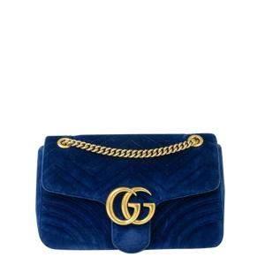 Gucci Blue Velvet GG Marmont Shoulder Bag