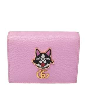 محفظة غوتشي بوسكو جلد مارمونت GG وردي فاتح إصدار محدود ثنائية الطي