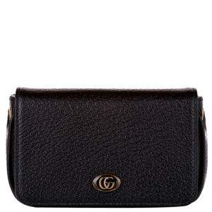 Gucci Black Calf Leather Marmont Chain Wallet
