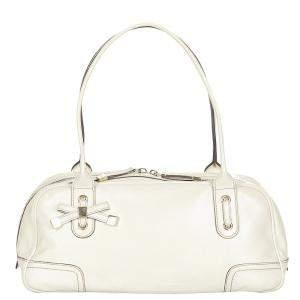Gucci White Leather Princy Boston Bag