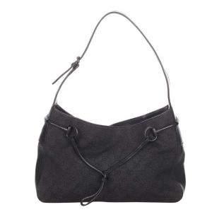 Gucci Black Canvas Fabric Horsebit Shoulder Bag