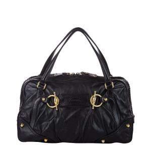 Gucci Black Leather Jockey Shoulder Bag