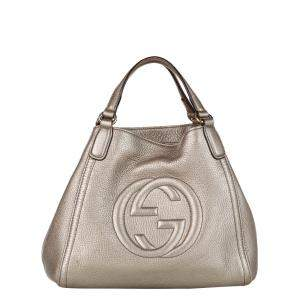 Gucci Gold Leather Soho Satchel Bag
