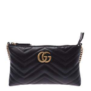 Gucci Black Leather GG Marmont Mini Chain Shoulder Bag