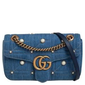 حقيبة كتف غوتشي مارمونت GG دنيم ماتيلاس زرقاء مزخرفة باللؤلؤ صغيرة