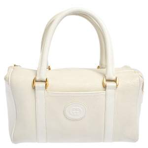 Gucci Off White Leather GG Embossed Boston Bag
