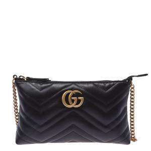 Gucci Black Leather GG Marmont Bag