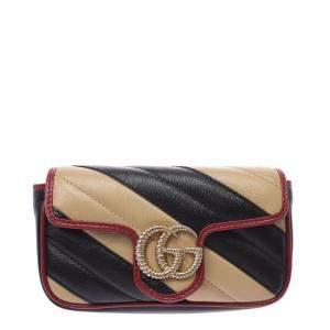 Gucci Black/Biege GG Marmont Leather Mini Shoulder Bag
