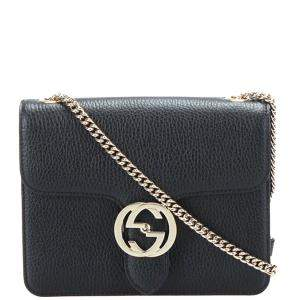 Gucci Black Calf Leather Interlocking G Chain Shoulder Bag