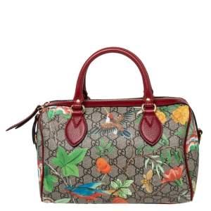 Gucci Multicolor GG Blooms Supreme Canvas and Leather Boston Bag