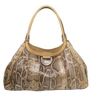 Gucci Beige/IBrown Python Leather Abbey D-Ring Hobo