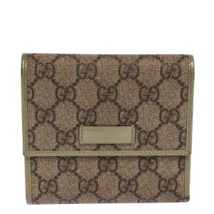 Gucci Beige/Green GG Supreme Canvas and Leather Joy French Wallet