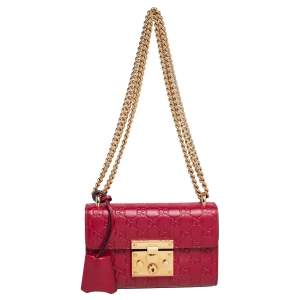 Gucci Red Guccissima Leather Small Padlock Shoulder Bag