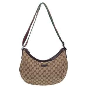 Gucci Beige GG Canvas Medium Web Messenger Bag