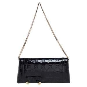 Gucci Black Guccissima Patent Leather Chain Clutch